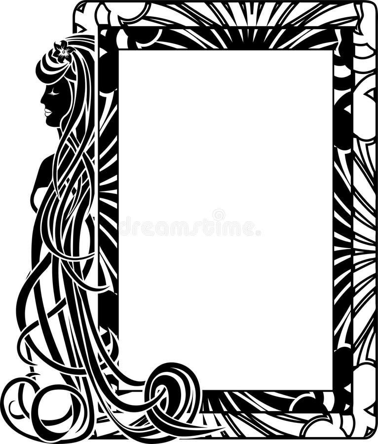 Dekorativ ram i stil Art Nouveau stock illustrationer