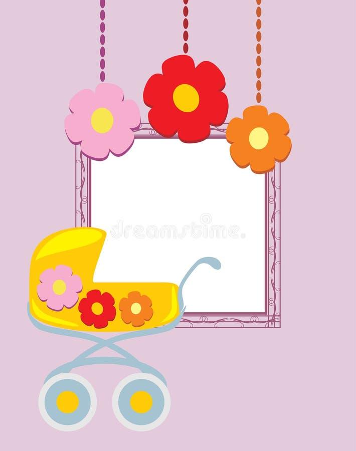 Dekorativ ram med den stiliserade pramen och blommor Födelsedagvykort stock illustrationer