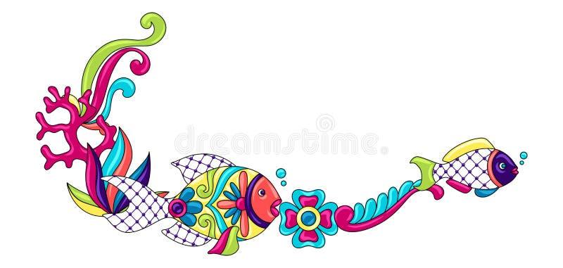 Dekorativ ram med fiskar Mexicansk keramisk gullig lättrogen konst vektor illustrationer
