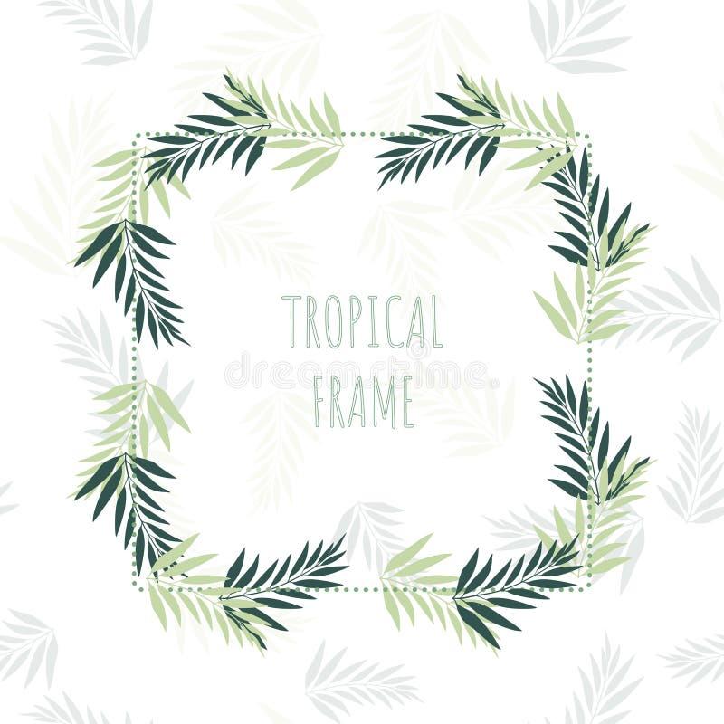 Dekorativ ram med tropiska sidor Sommarvektorillustration royaltyfri illustrationer