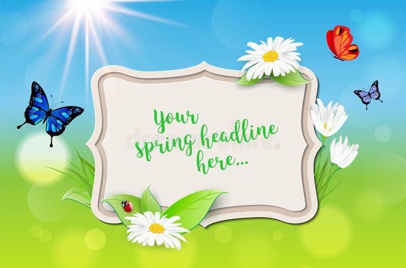 Dekorativ ram med vårbakgrund för din text royaltyfri illustrationer