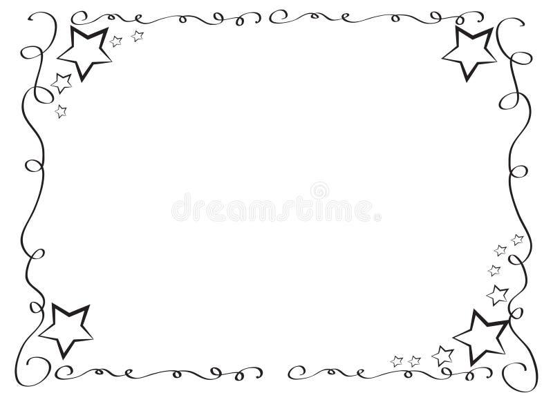Dekorativ ramgräns med stjärnor royaltyfri illustrationer