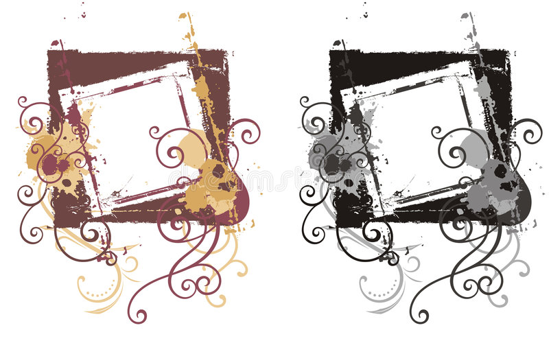 dekorativ ramgrunge vektor illustrationer