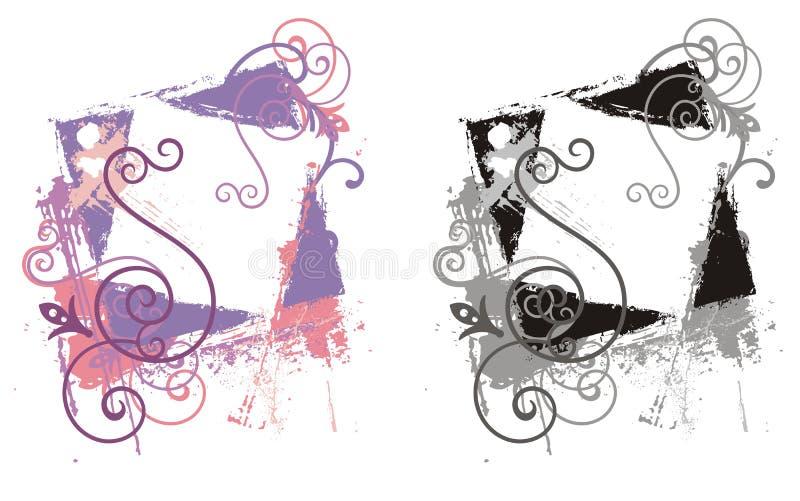 dekorativ ramgrunge royaltyfri illustrationer