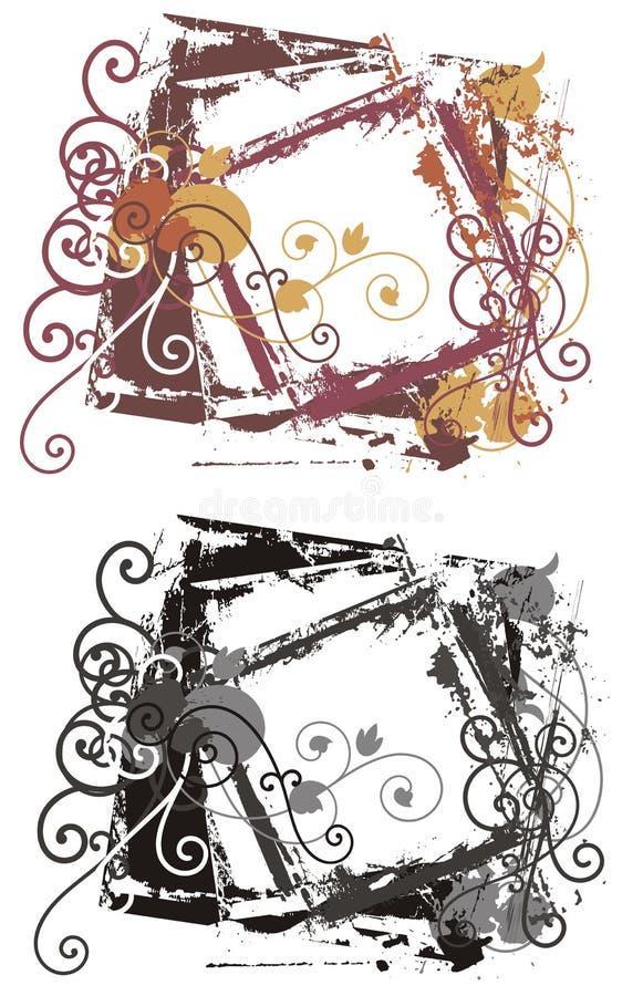dekorativ ramgrunge stock illustrationer