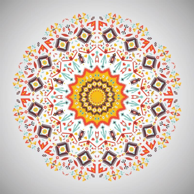 Dekorativ rund färgrik geometrisk modell in stock illustrationer