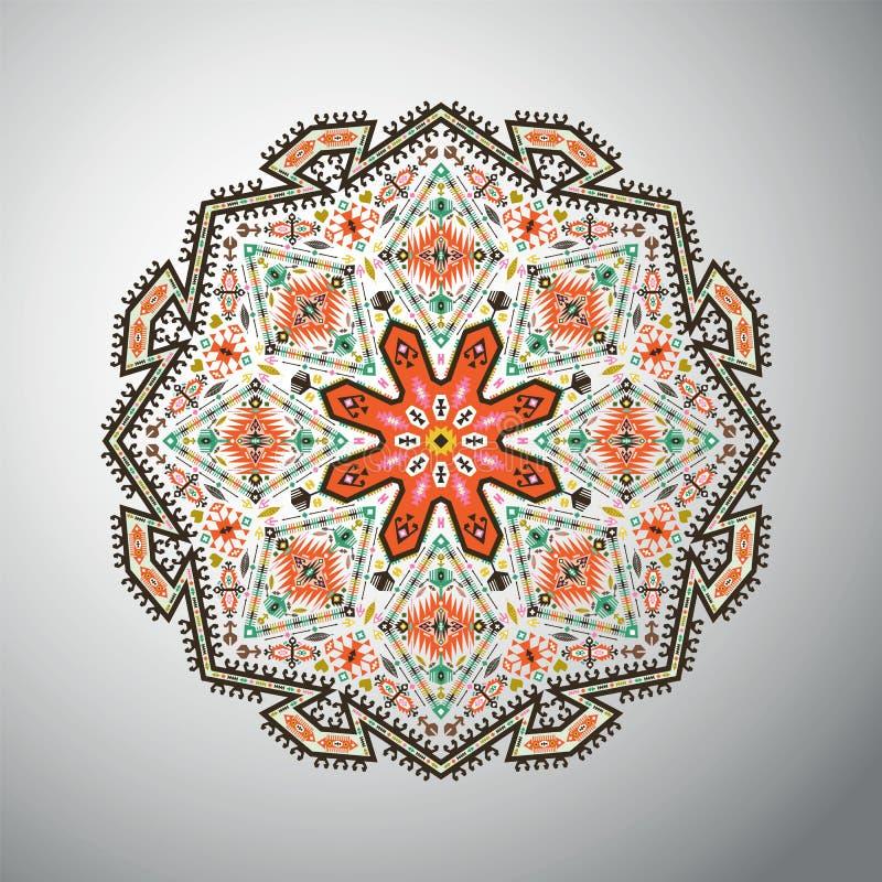 Dekorativ rund färgrik geometrisk modell i aztec stil royaltyfri illustrationer