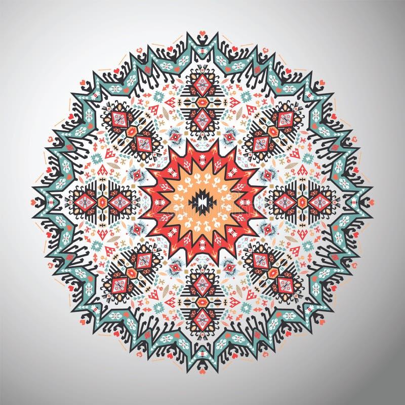 Dekorativ rund färgrik geometrisk modell i aztec stil vektor illustrationer