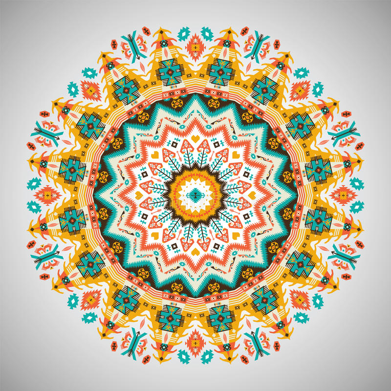 Dekorativ rund geometrisk modell i aztec stil vektor illustrationer