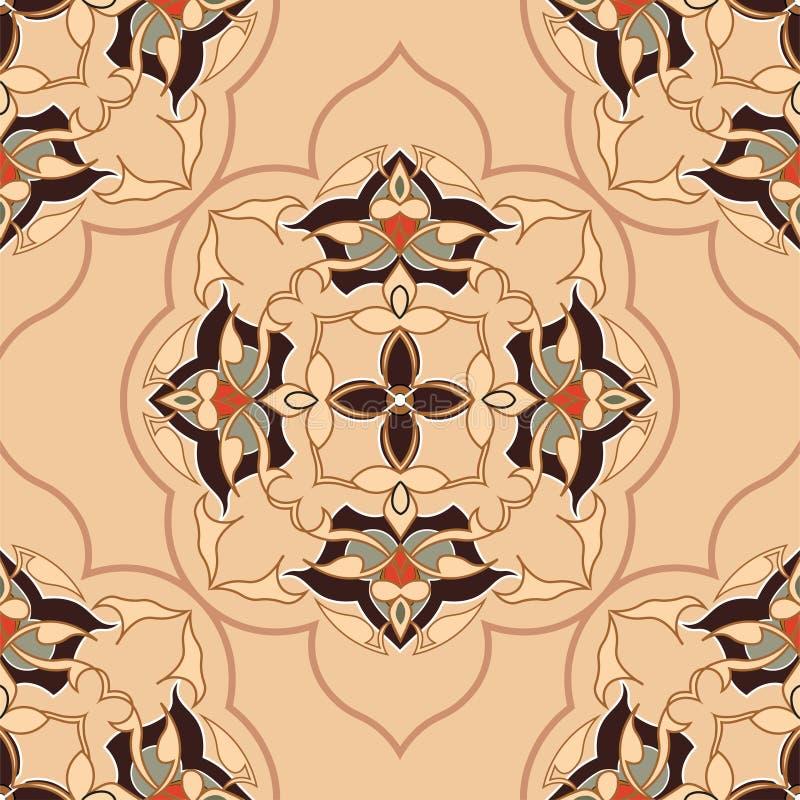 Dekorativ rund Marocko sömlös modell plant royaltyfri illustrationer