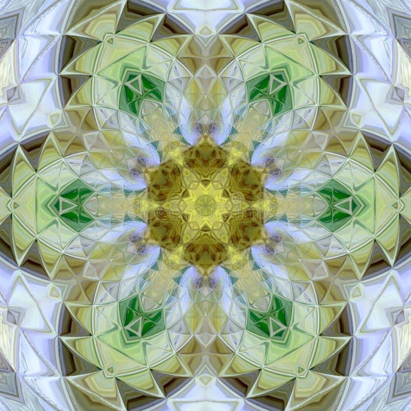 Dekorativ rund modell Färgrik Mandala för prydnadtappninggräsplan stock illustrationer