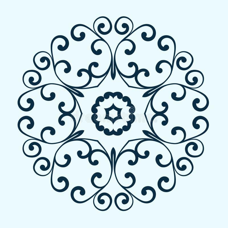 Dekorativ rund ram Blom- abstrakt vektor stock illustrationer