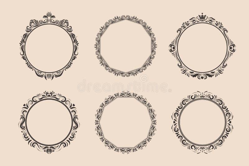 Dekorativ rund tappningram- och gränsuppsättning royaltyfri illustrationer