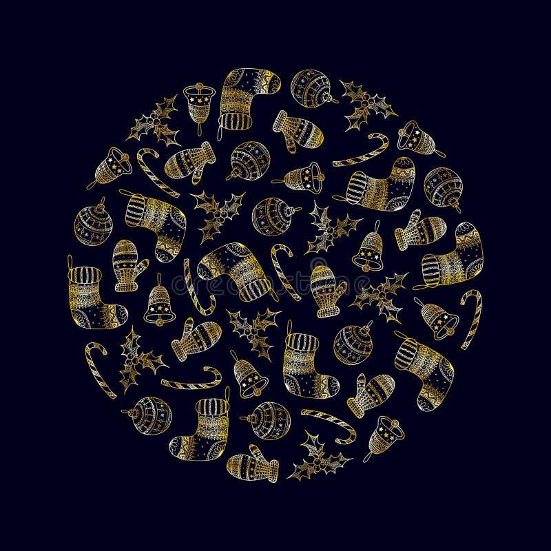 Dekorativ runda för vektor från guld- julsymboler royaltyfri illustrationer