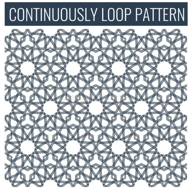 Dekorativ sömlös öglasarabiska eller islamiska geometriska modelltegelplattor stock illustrationer