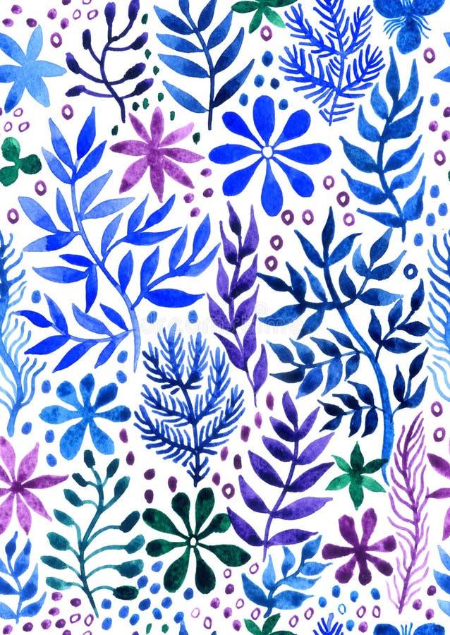 Dekorativ sömlös blom- abstrakt bakgrundsvattenfärg vektor illustrationer