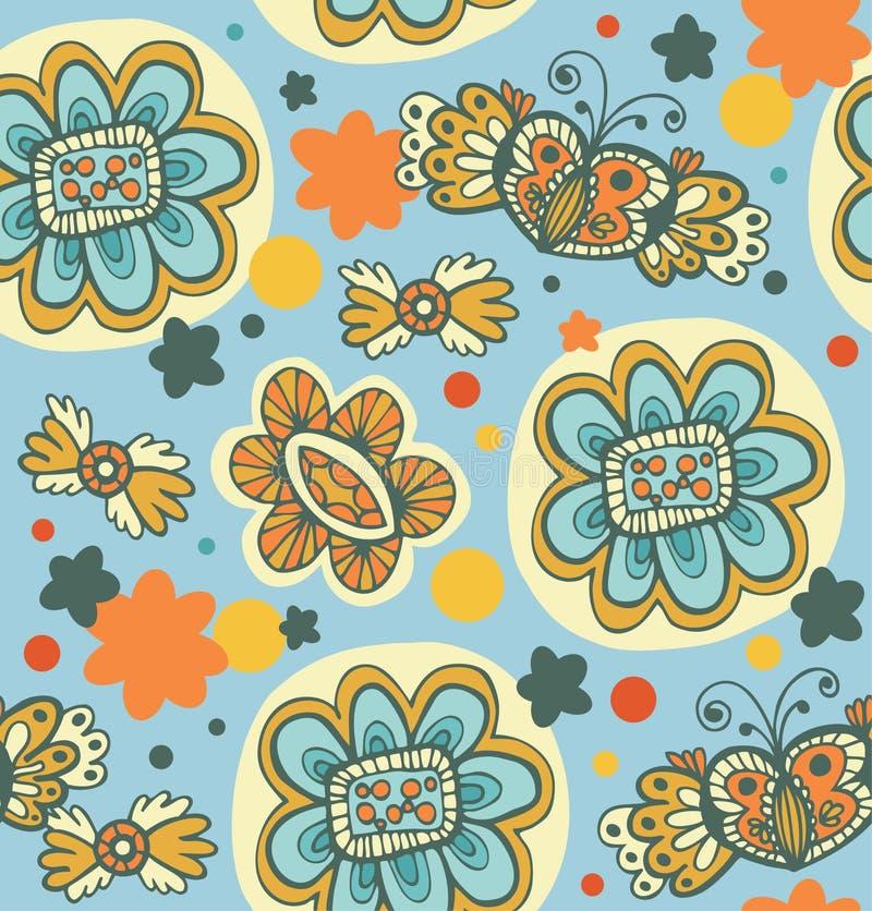 Dekorativ sömlös blom- modell. Klottra bakgrund med blommor, hjärtor och fjärilar royaltyfri illustrationer