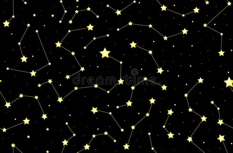 Dekorativ sömlös modell för stjärnklar vektor med glänsande stjärnor och konstellationer på natthimlen stock illustrationer
