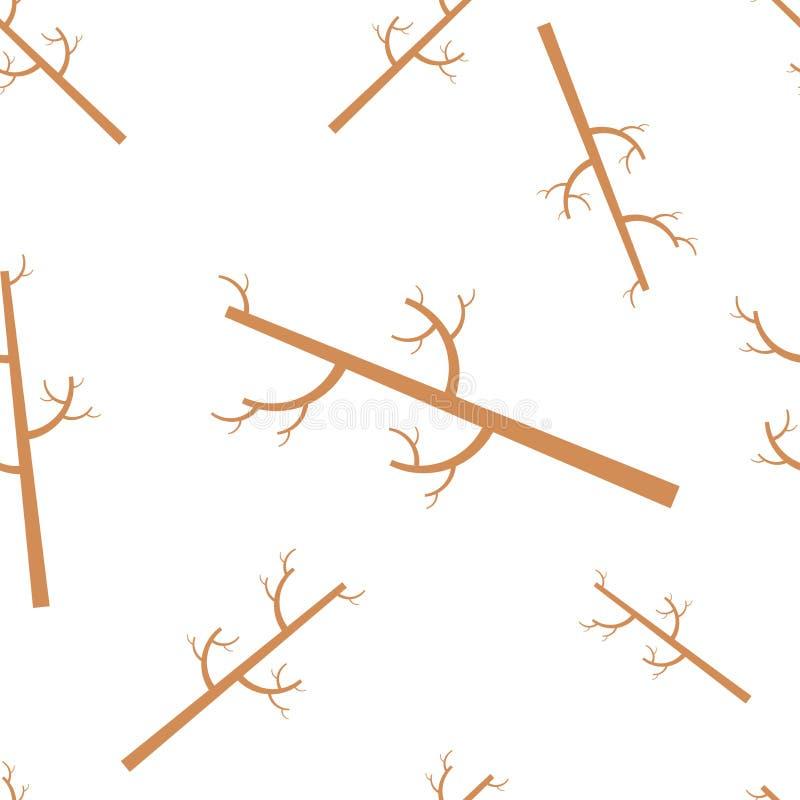 Dekorativ sömlös modell med stammar av träd Trädvektor stock illustrationer