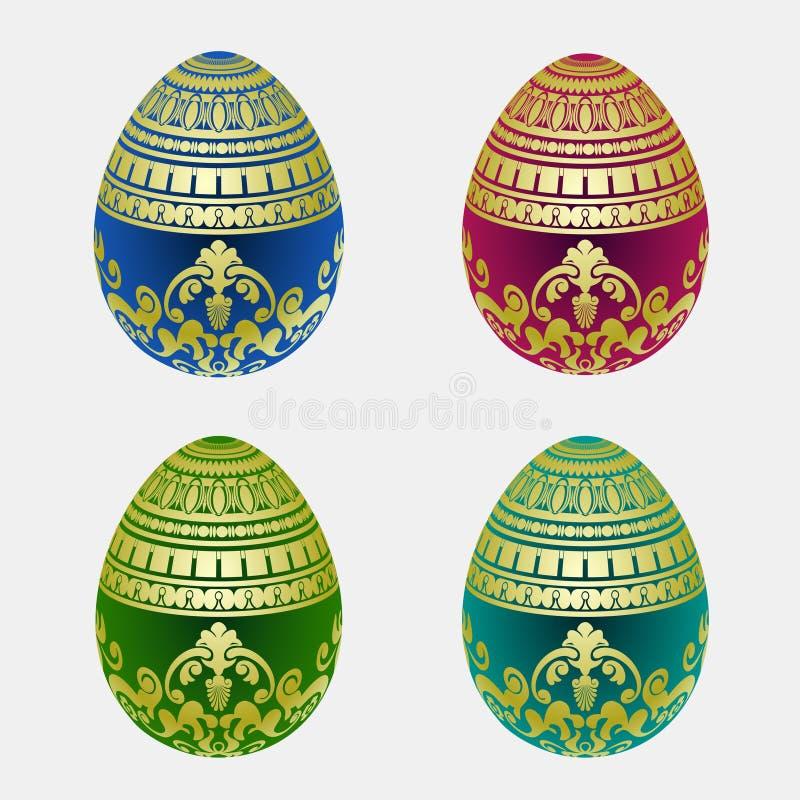 Dekorativ samling för easter ägg royaltyfri illustrationer