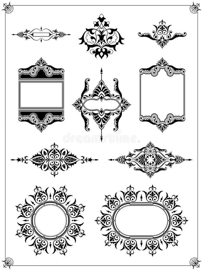 Dekorativ samling för element för kantramdesign royaltyfri illustrationer