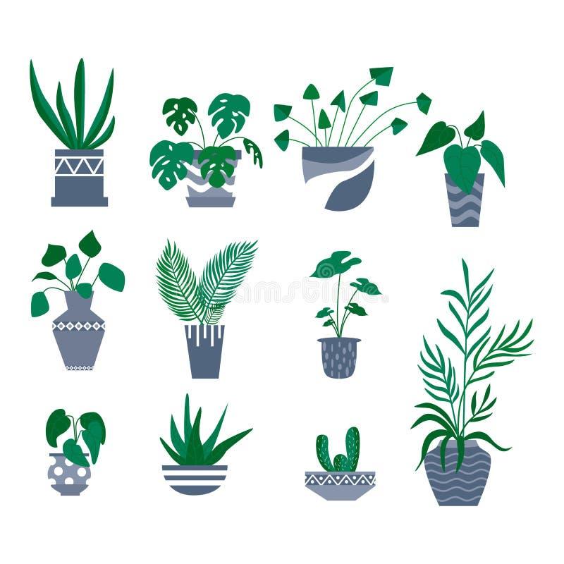 Dekorativ samling för inlagda växter Plan färgrik vektorillustration vektor illustrationer