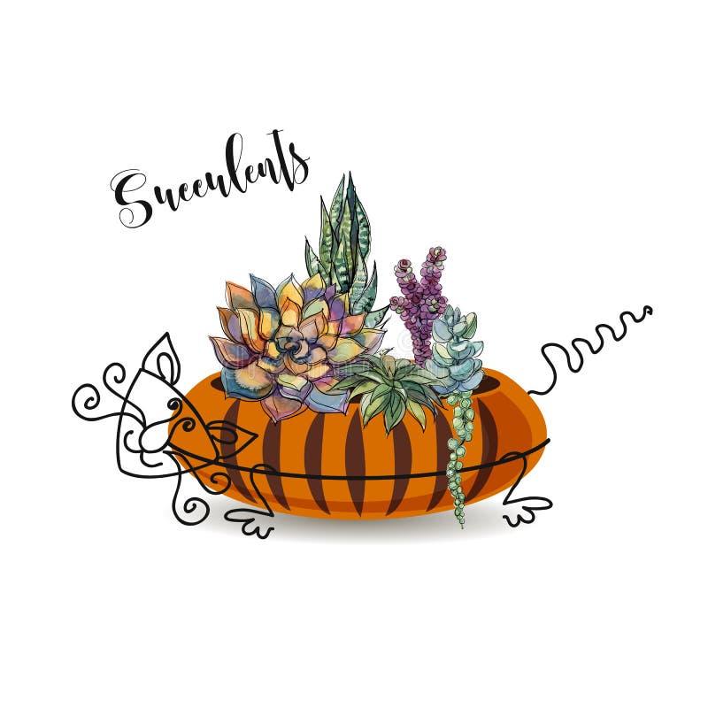 Dekorativ sammansättning av suckulenter I en blomkruka i form av en randig katt Diagram med vattenfärgen vektor royaltyfri illustrationer