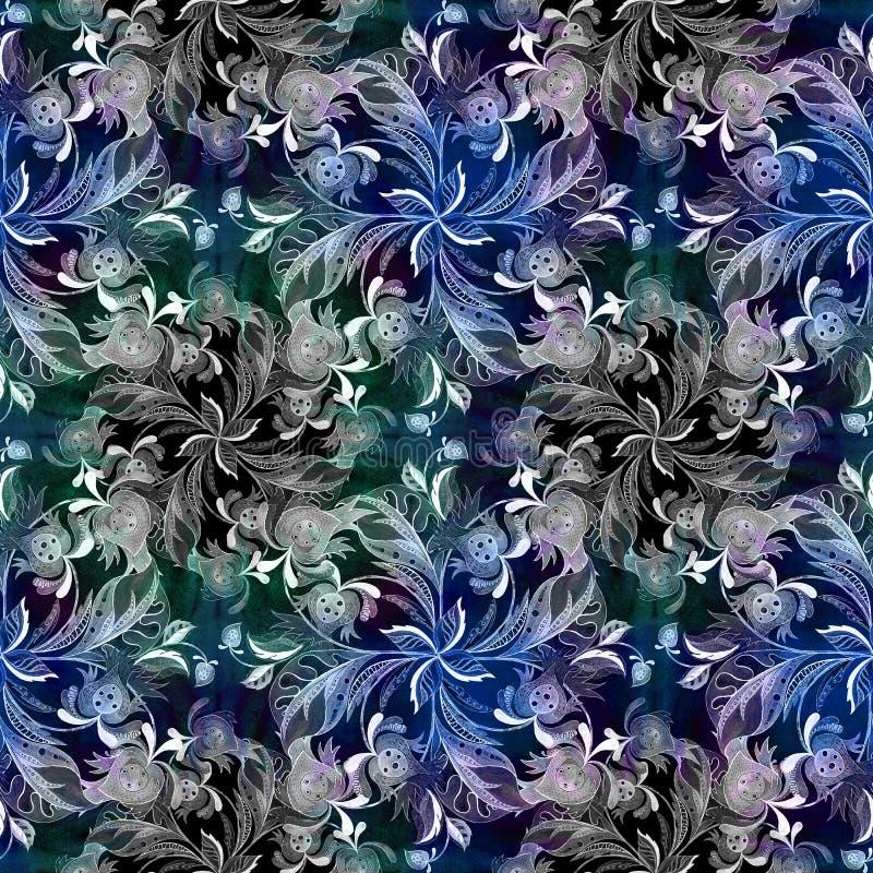 Dekorativ sammansättning - paisley på en vattenfärgbakgrund vattenfärg Modell i etnisk stil vita tulpan för blomma för bakgrundss royaltyfri illustrationer