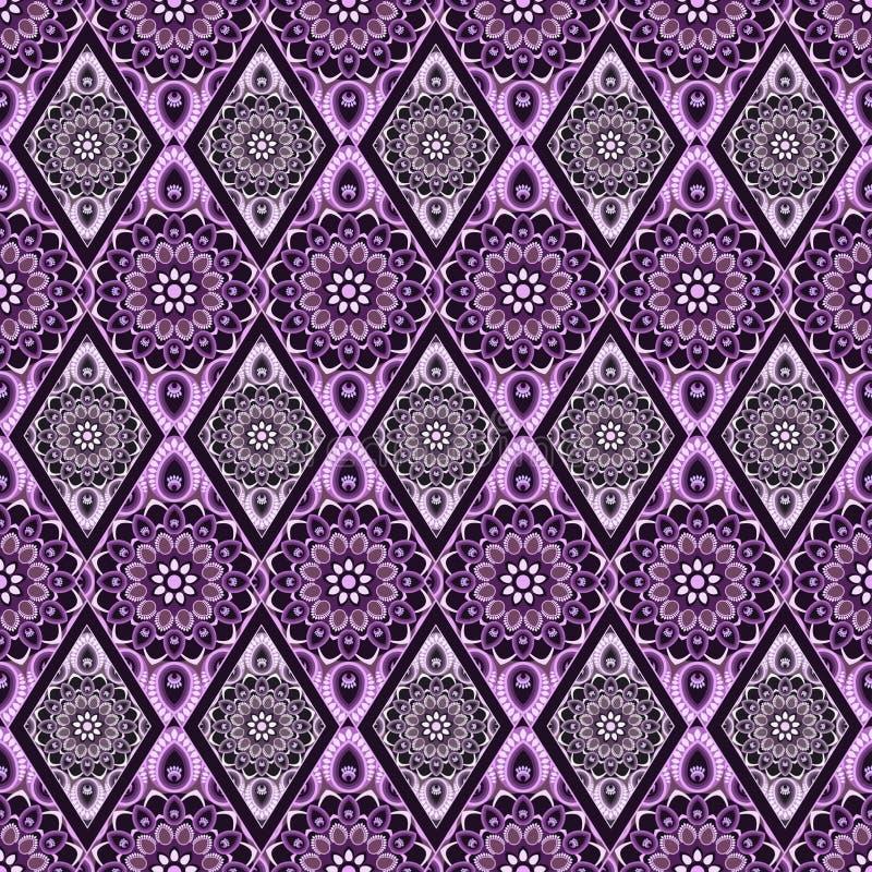 Dekorativ seamless modell Östlig orientalisk design, etnisk stil Vektorbakgrund av mandalaen Islam arabiska, indier vektor illustrationer