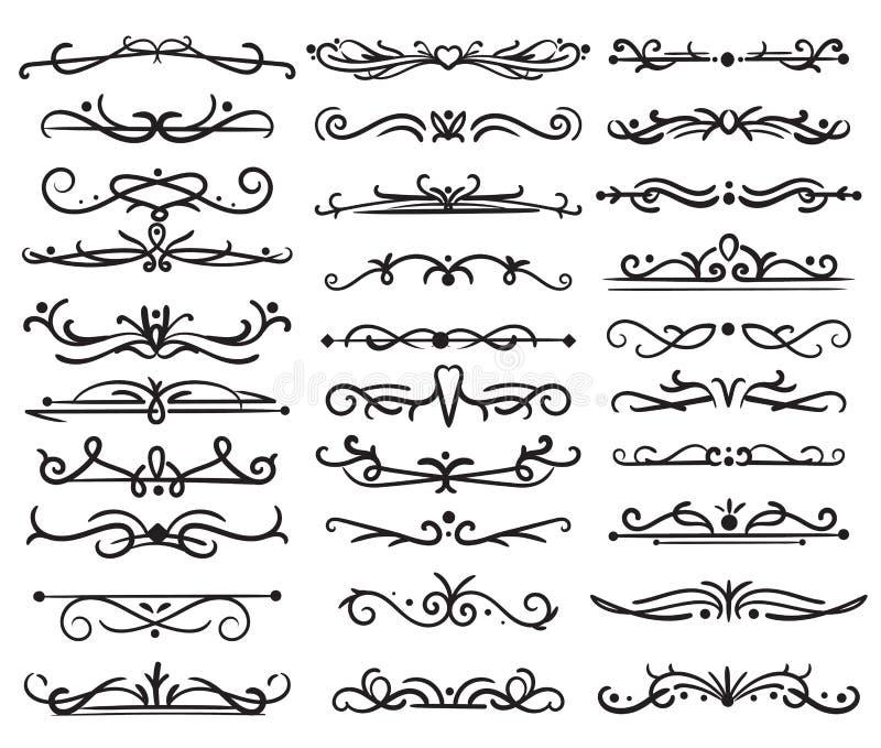 Dekorativ sidaavdelare Tappningvirvlar, prydnader som gifta sig ramen, blom- textgränser, utsmyckade virvelavdelare vektor stock illustrationer