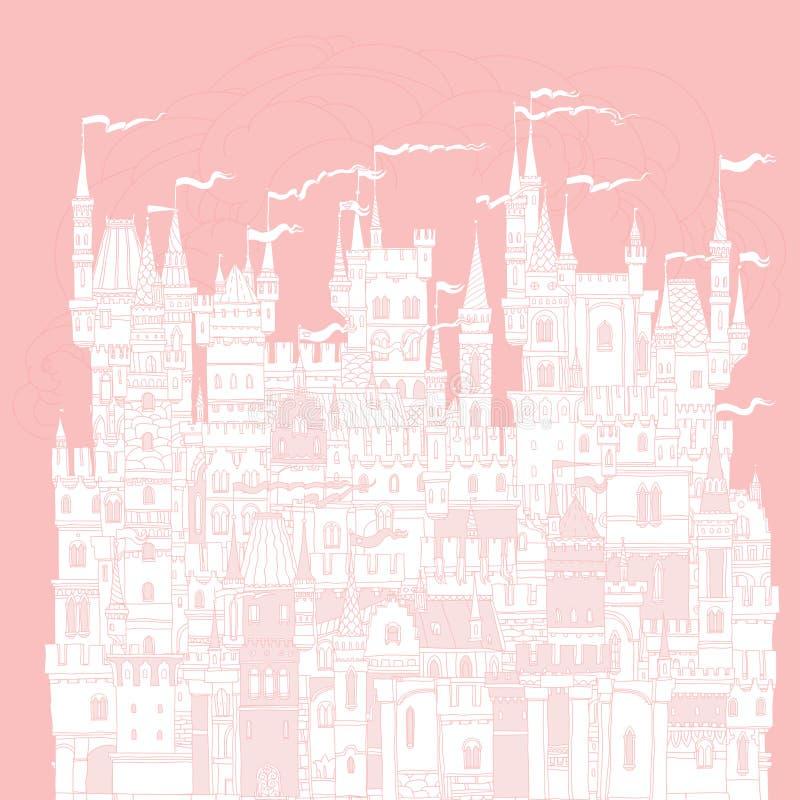 Dekorativ slott från en saga stock illustrationer