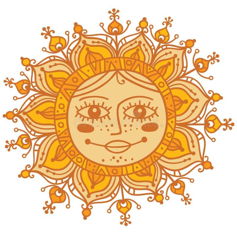 Dekorativ sol med den mänskliga framsidan fotografering för bildbyråer