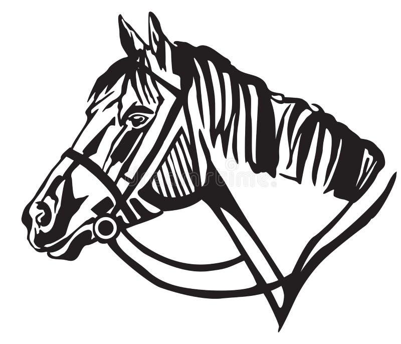 Dekorativ stående av hästen i profilvektorillustration royaltyfri illustrationer