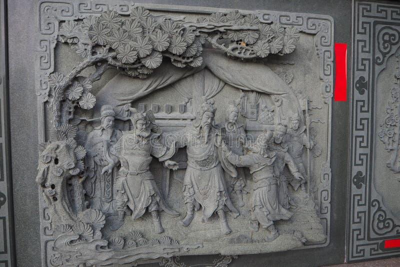Dekorativ sten som snider på väggen på solmåne sjön Wen Wu Temple arkivfoton