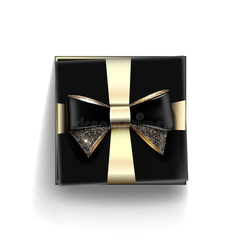 Dekorativ svart gåvaask med den guld- pilbågen och det långa bandet vektor royaltyfria bilder