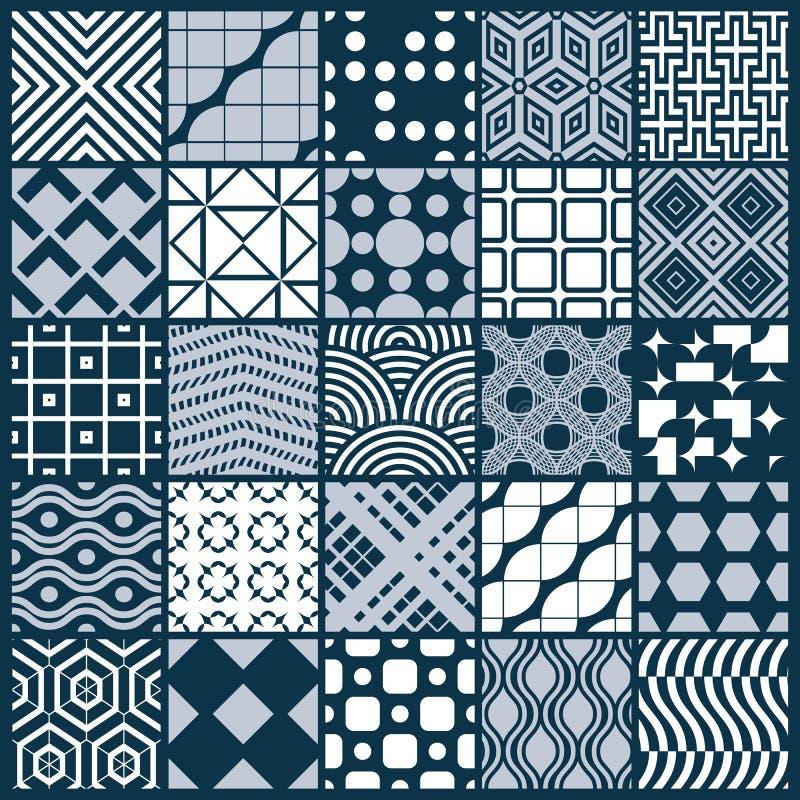 Dekorativ svartvit sömlös bakgrunduppsättning för vektor vektor illustrationer