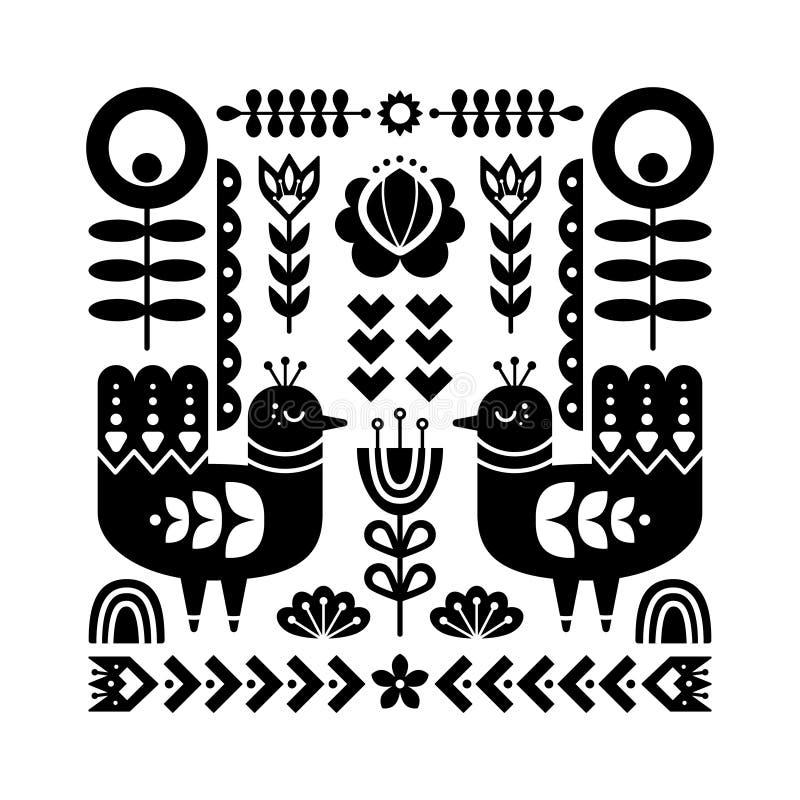Dekorativ svartvit sammansättning med fåglar och dekorativa blom- beståndsdelar vektor illustrationer