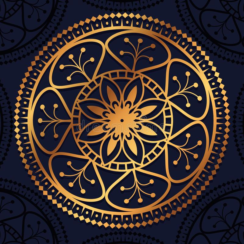 Dekorativ symbol för guld- mandala royaltyfri illustrationer