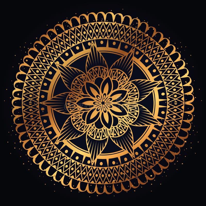 Dekorativ symbol för guld- mandala stock illustrationer