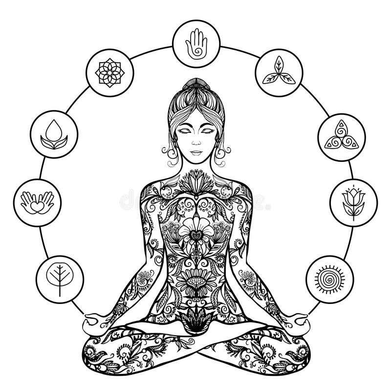 Dekorativ symbol för svart för lotusblommayogakvinna vektor illustrationer