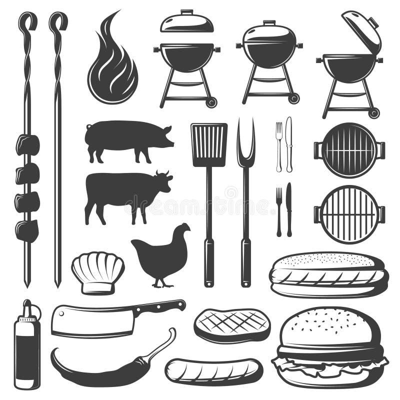 Dekorativ symbolsuppsättning för BBQ stock illustrationer
