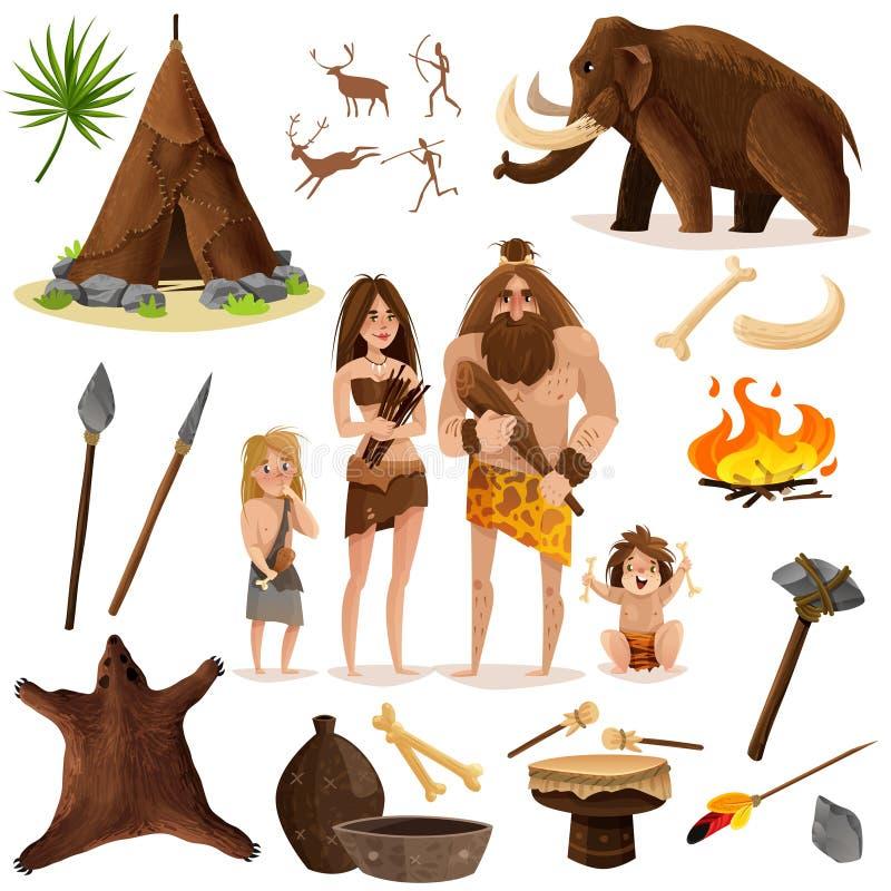 Dekorativ symbolsuppsättning för grottmänniskor royaltyfri illustrationer