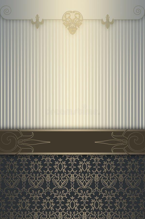 Dekorativ tappningbakgrund med eleganta gränser stock illustrationer