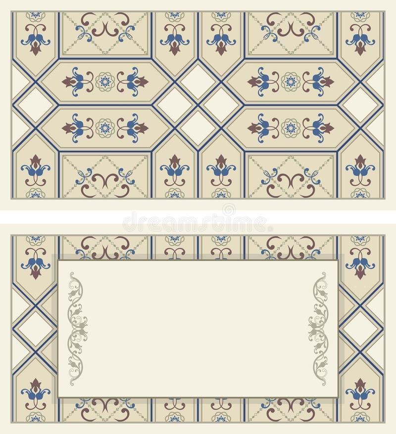 Dekorativ tappningillustration för att gifta sig inbjudningar, hälsningkort royaltyfri illustrationer
