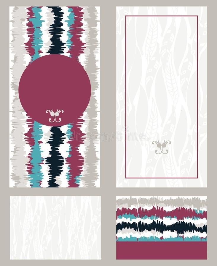 Dekorativ tappningillustration för att gifta sig inbjudningar, hälsningkort vektor illustrationer