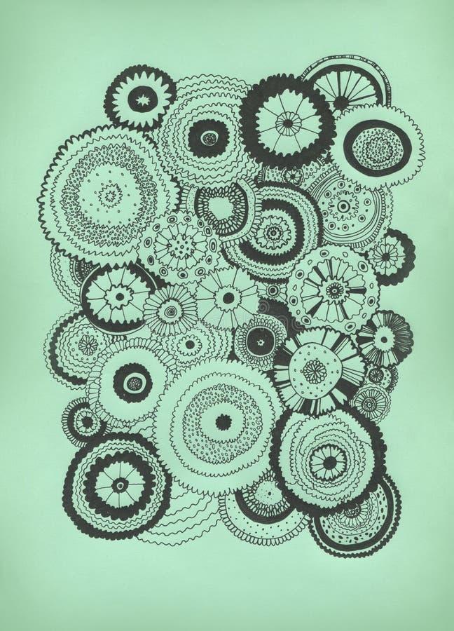 dekorativ tecknad blommahand för bakgrund stock illustrationer