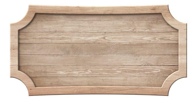 Dekorativ tr?skylt som g?ras av naturligt tr? och med den ljusa ramen arkivfoton