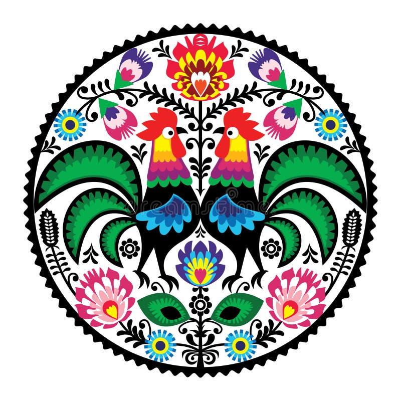 Polsk blom- broderi med roosters - traditionella folk mönstrar vektor illustrationer