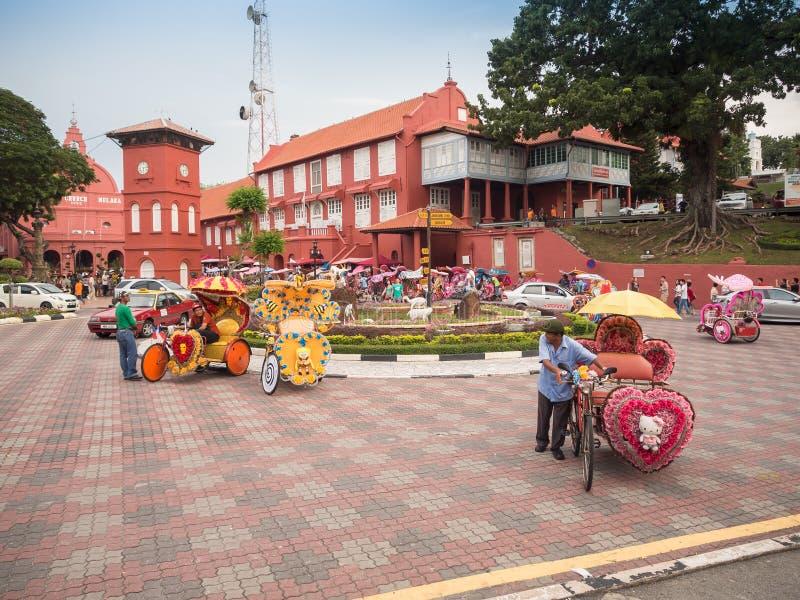 Dekorativ trishaw på den Malacca staden Malaysia royaltyfria bilder