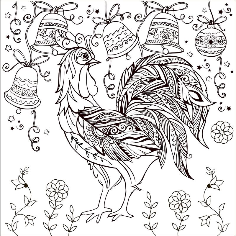 Dekorativ tuppmonokrom Färga sidan glad klockajul royaltyfri illustrationer